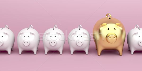 Csetepaté malac bankok rózsaszín egy nagyobb Stock fotó © magraphics