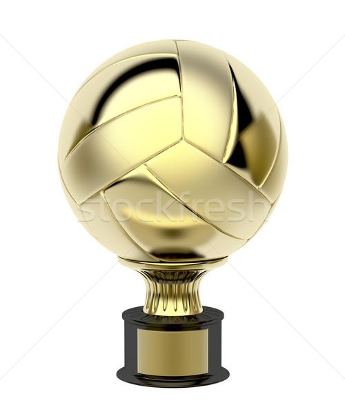 Złota siatkówka trofeum odizolowany biały plaży Zdjęcia stock © magraphics
