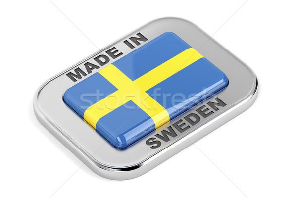 Svédország fényes kitűző ezüst fehér üzlet Stock fotó © magraphics