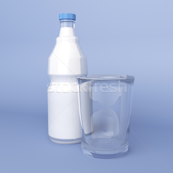 Empty glass and bottle of milk Stock photo © magraphics