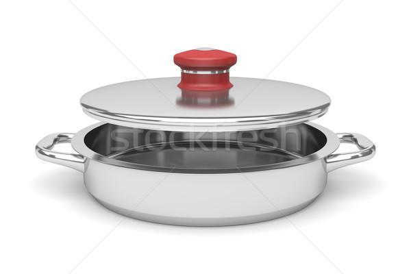 Stok fotoğraf: Tava · boş · açmak · beyaz · mutfak · pişirme