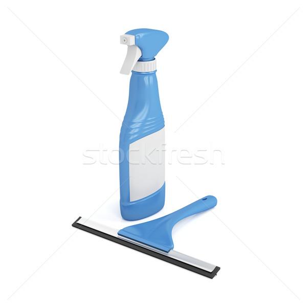 Vidro limpador spray garrafa limpador de janelas branco Foto stock © magraphics