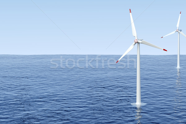 Wind turbines in the sea Stock photo © magraphics