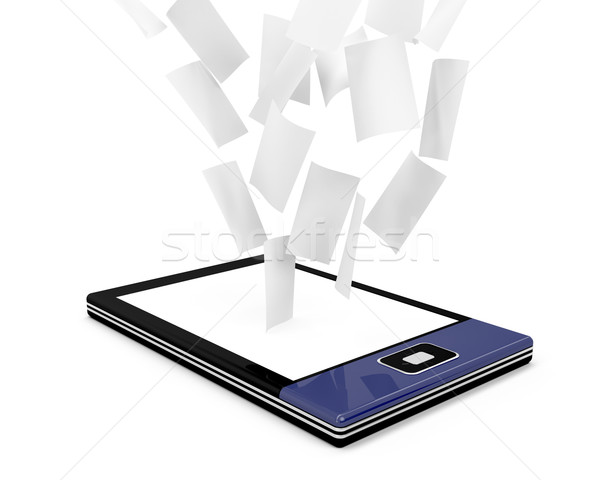 E-book reader with many documents Stock photo © magraphics