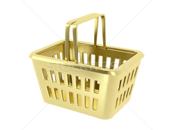 Arany bevásárlókosár fehér piac áruház bolt Stock fotó © magraphics
