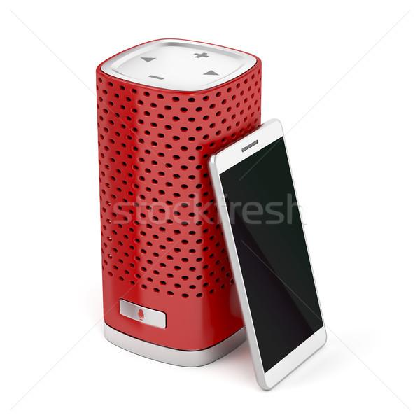 Okos hangszóró okostelefon piros fehér mikrofon Stock fotó © magraphics