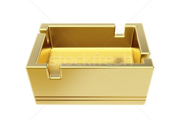 ストックフォト: 灰皿 · 孤立した · 白 · 空っぽ · 金
