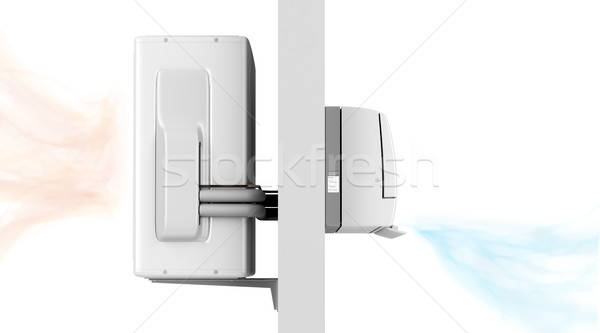 Indoor and outdoor units of air conditioner Stock photo © magraphics