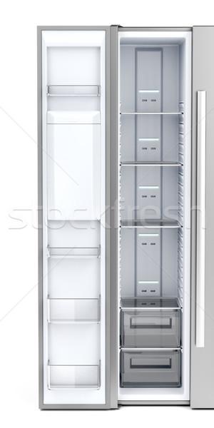 üres mélyhűtő kinyitott ajtó elöl kilátás Stock fotó © magraphics