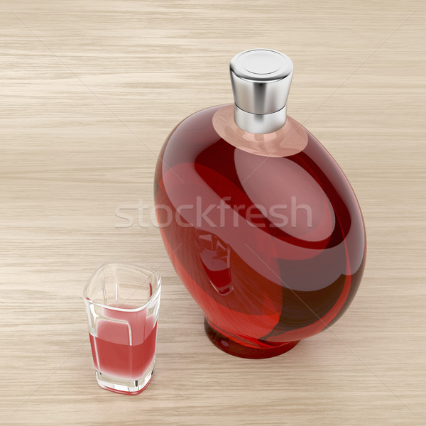 Liqueur bottle and a glass Stock photo © magraphics