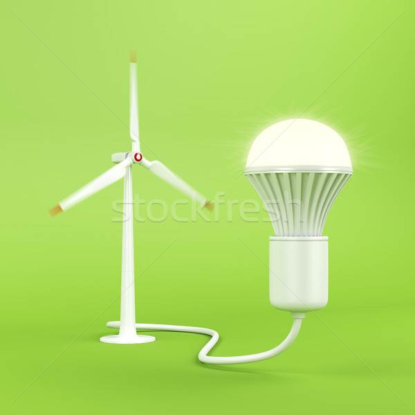 Wind turbine and glowing light bulb Stock photo © magraphics