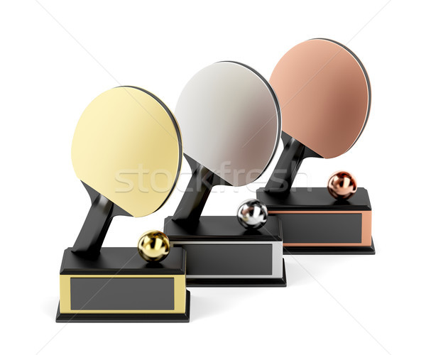 Tafeltennis trofeeën witte eerste tweede derde Stockfoto © magraphics