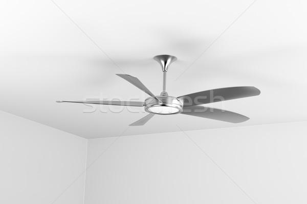 Stockfoto: Zilver · plafond · fan · vijf · muur · metaal