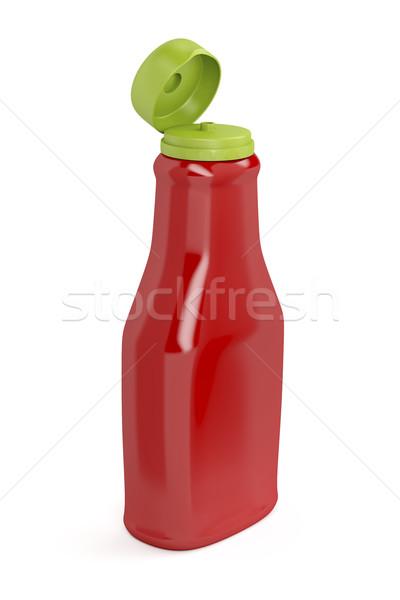 Nyitva ketchup üveg fehér piros paradicsom Stock fotó © magraphics