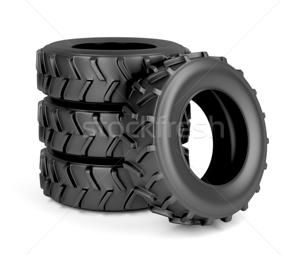 Trator maquinaria pneus grupo quatro branco Foto stock © magraphics