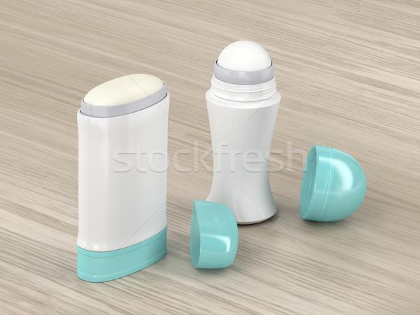 Madeira vara mesa de madeira cosmético abrir produto Foto stock © magraphics