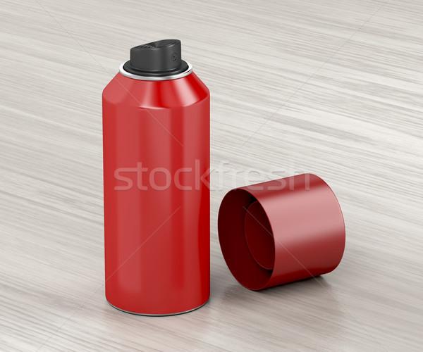 Corpo spray lata mesa de madeira madeira cabelo Foto stock © magraphics
