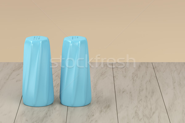 Blue salt and pepper shakers Stock photo © magraphics