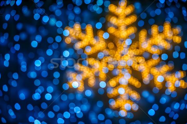 Bulanık kar tanesi ışıklar Noel mavi ışık Stok fotoğraf © mahout