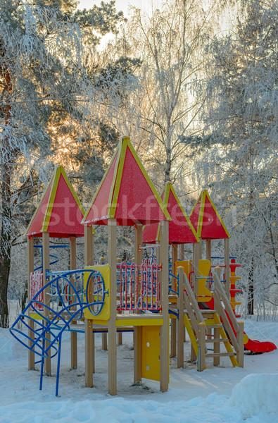 Invierno parque Zona de juegos puesta de sol luz naturaleza Foto stock © mahout