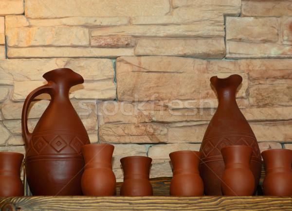 Argila prateleira mão cozinha arte Foto stock © mahout