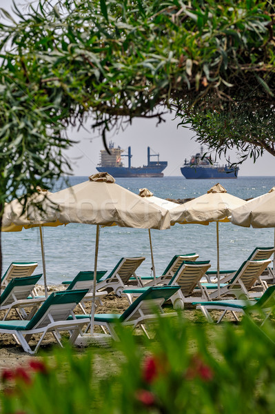 Resort beach and freight ships Stock photo © mahout