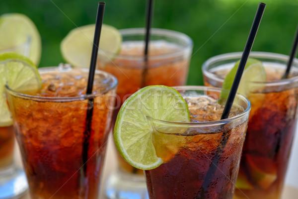 Bril rum cocktail vruchten glas groene Stockfoto © mahout