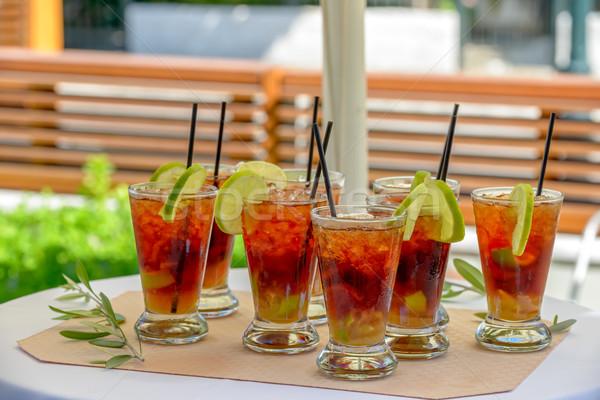 очки ром коктейль льда извести фрукты Сток-фото © mahout
