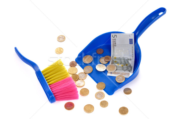 Brush sweeping euro coins and banknote isolated Stock photo © mahout