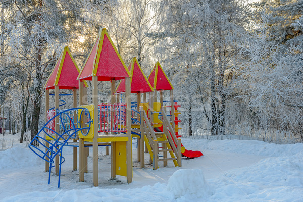 Playground in winter park Stock photo © mahout