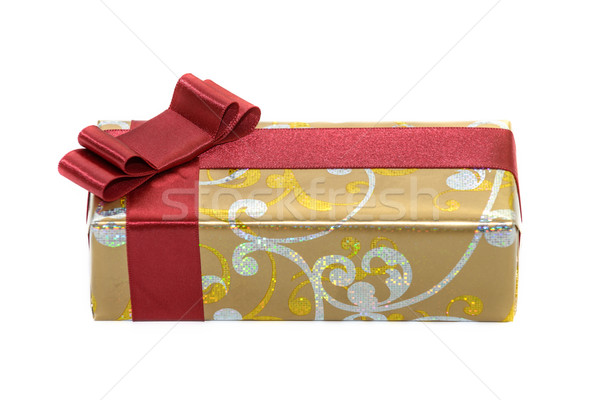 Gift with red ribbon and bow isolated on white Stock photo © mahout