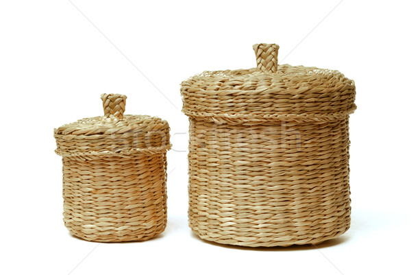 Two wattled baskets isolated on white Stock photo © mahout