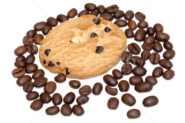Cookie granos de café aislado blanco café torta Foto stock © mahout