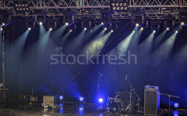 Spotlights and illumination on stage with sound equipment Stock photo © mahout