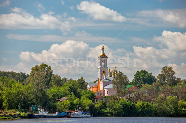 Church in small town on river bank Stock photo © mahout