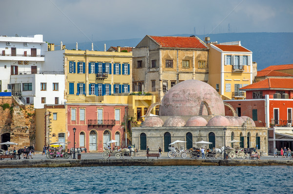 Embankment of old harbour in Chania, Crete, Greece Stock photo © mahout
