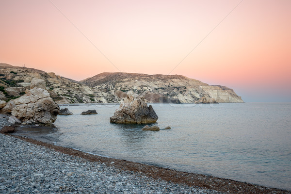 Zonsondergang zee Cyprus strand hemel water Stockfoto © mahout
