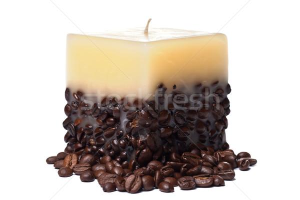свечу кофе изолированный белый Сток-фото © mahout