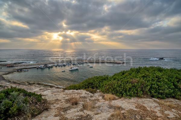 Pesca barcos rayos de sol mar playa nubes Foto stock © mahout