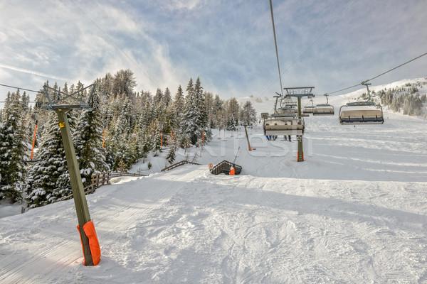 Kayak başvurmak kış manzara alpine Stok fotoğraf © mahout
