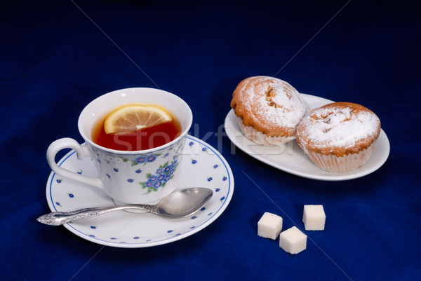 Cup of tea with cake Stock photo © mahout