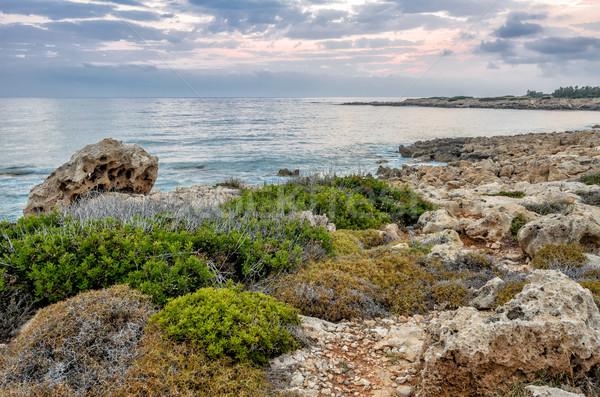 Chipre paisaje puesta de sol mar nubes Foto stock © mahout