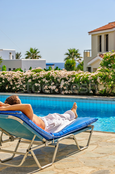 Man relax on deck chair Stock photo © mahout