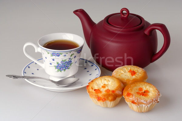 Cup of tea, teapot and cake Stock photo © mahout