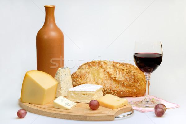 Vidrio botella de vino queso vino tinto botella placa Foto stock © mahout
