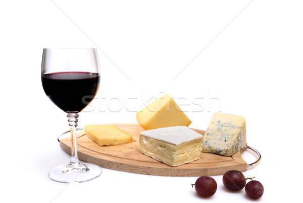 Glas rode wijn kaas geïsoleerd witte voedsel Stockfoto © mahout