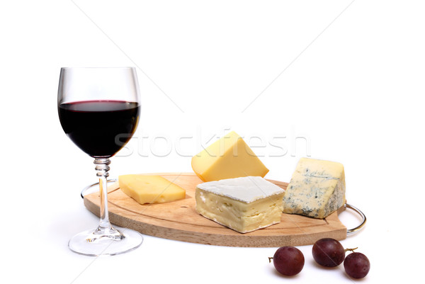Vidrio vino tinto queso aislado blanco alimentos Foto stock © mahout