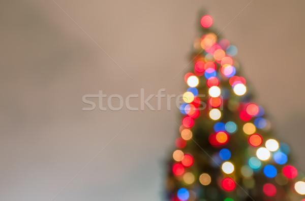 Karácsonyfa elmosódott fények sziluett fa absztrakt Stock fotó © mahout