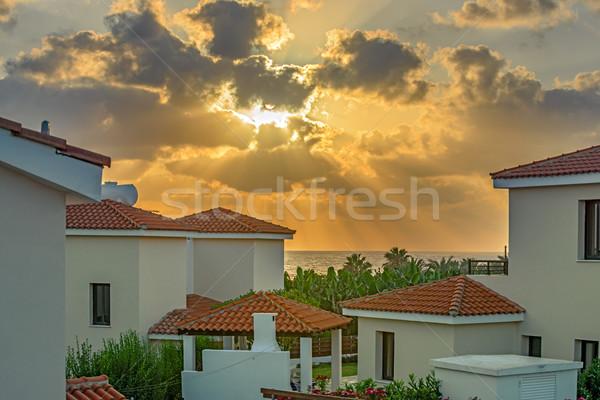 Wygaśnięcia plaży Cypr luksusowy wakacje domu Zdjęcia stock © mahout