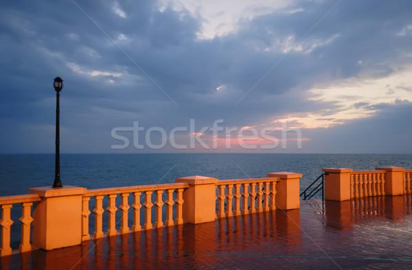 Cais crepúsculo luz fundo noite nascer do sol Foto stock © mahout